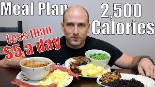2,500 Calories Cheap and Easy Meal Plan | Less Than 5 Dollars a Day