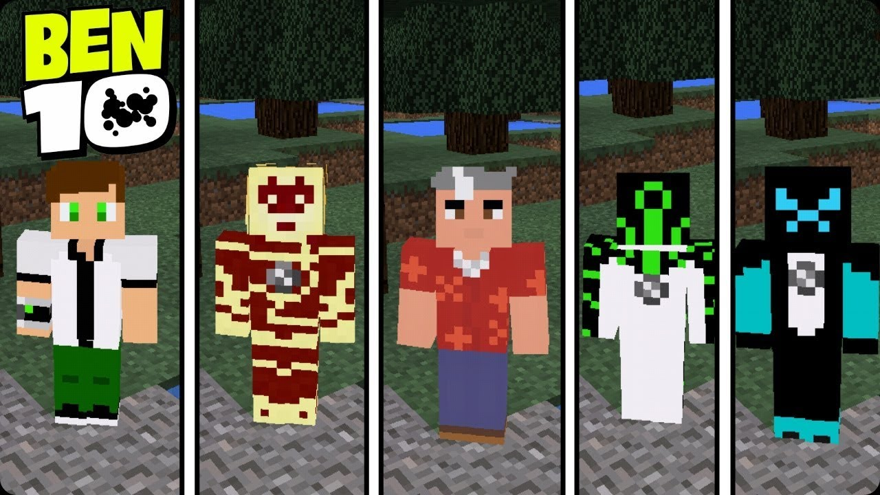 SAIU NOVAS SKINSPACK DO BEN MINECRAFT PE YouTube - Skins para minecraft pe ben 10