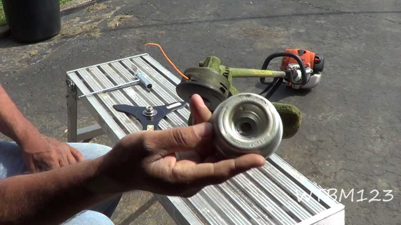 Stihl fs 90 trimmerinstalling a blade and string talk youtube greentooth Choice Image