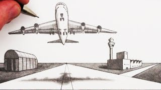 How to Draw an Airplane and Airport in 2-Point Perspective