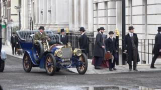 Film crew turns London street into Victorian-era spectacle for Howards End
