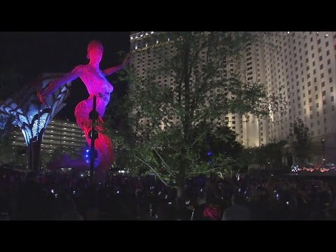 Bliss Dance lit up for first time at The Park