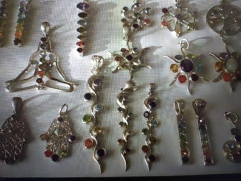 Подвески 7 чакр, серебро и натуральные камни. Украшения из Индии.