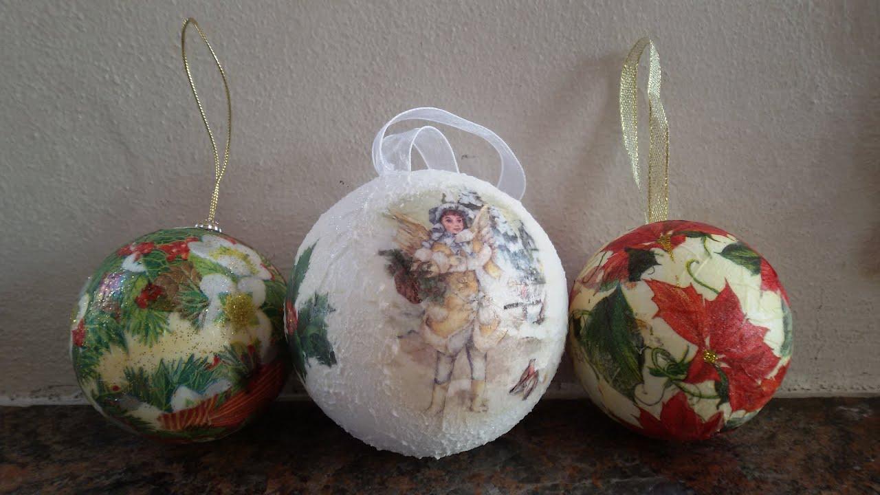 Lavoretti Di Natale Scuola Primaria Decoupage.Tutorial Sfere In Polistirolo Come Decorazione Per L Albero Di Natale Tutorial Christmas Balls Youtube