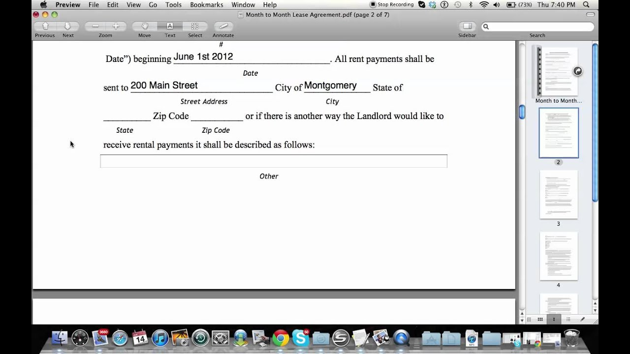 How To Fill Out A Month To Month Lease Agreement   YouTube