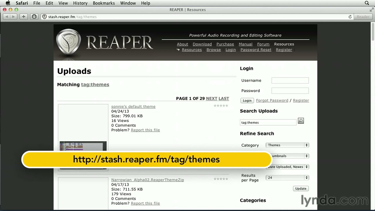 REAPER tutorial: Setting the default theme and appearance | lynda com