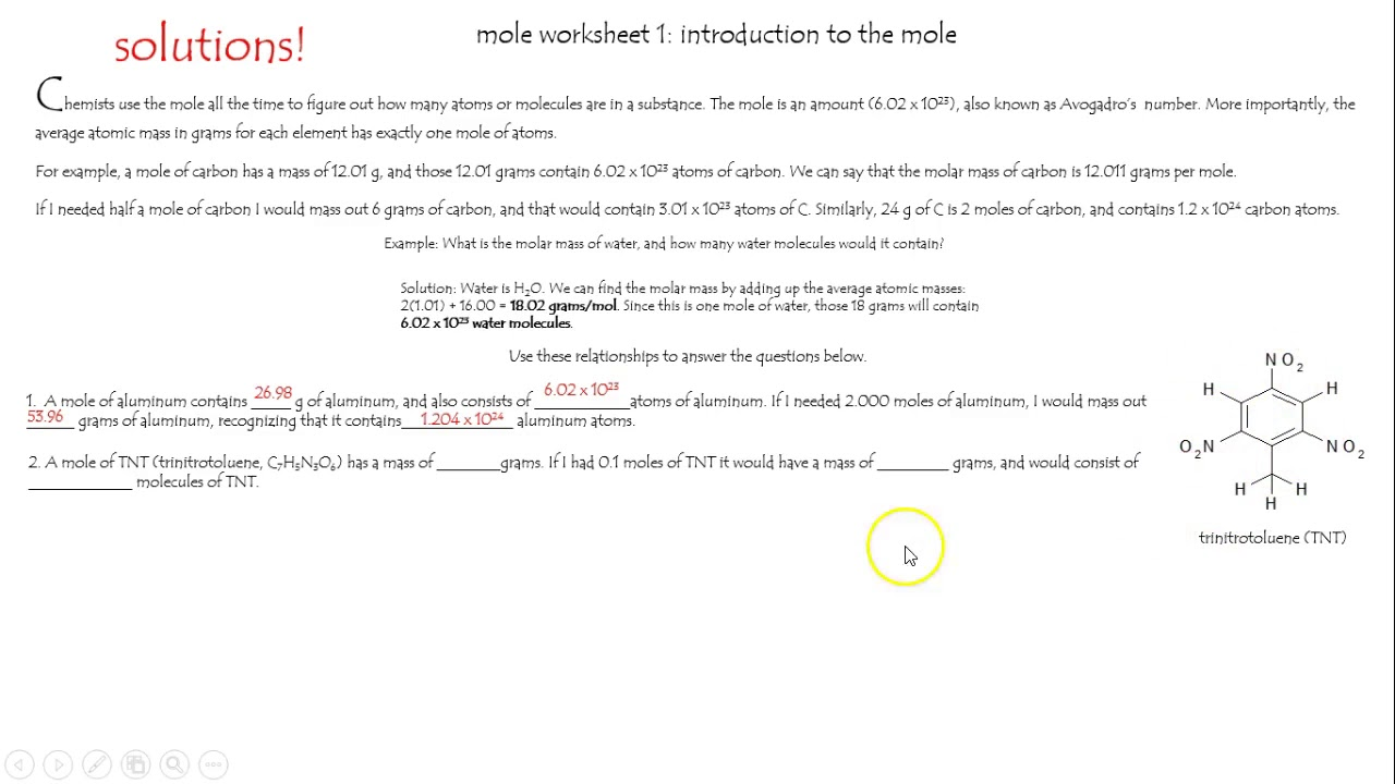 worksheet Mole Worksheet 1 mole worksheet 1 introduction to the youtube mole