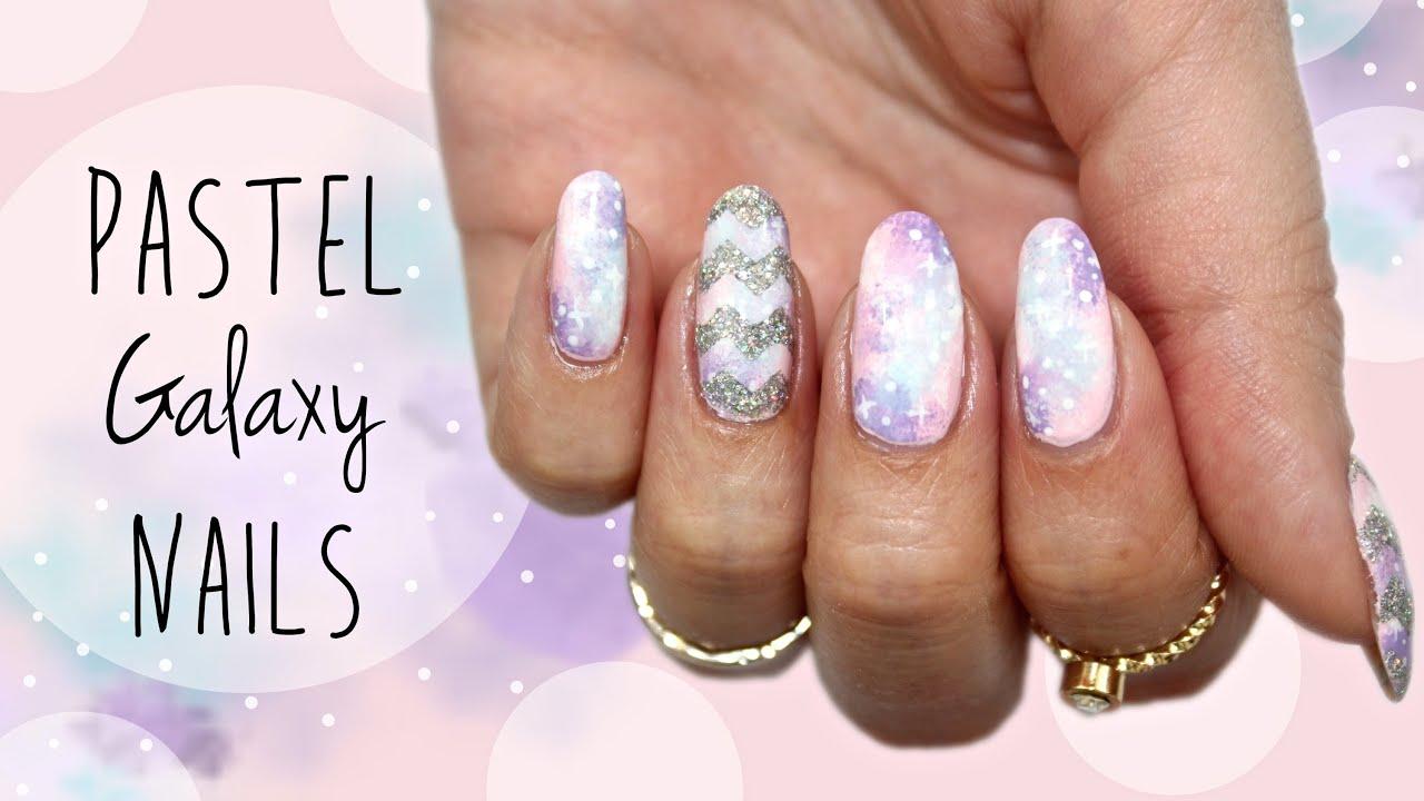 Pastel Nails | Galaxy & Chevron ☆ - YouTube