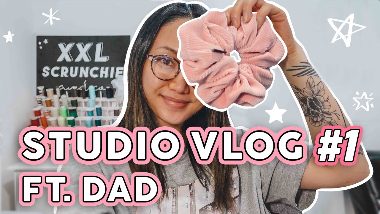 Download STUDIO VLOG   Day In The Life Making XXL Scrunchies   How Dad Helps My Small Business Run ❤ Sewing ✨