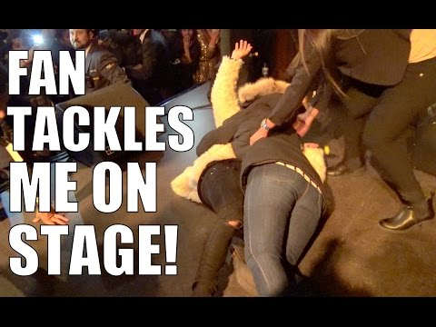 FAN TACKLES ME ON STAGE!! (CAUGHT ON CAMERA)