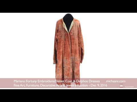 Mariano Fortuny Embroidered Velvet Coat and Delphos Dresses