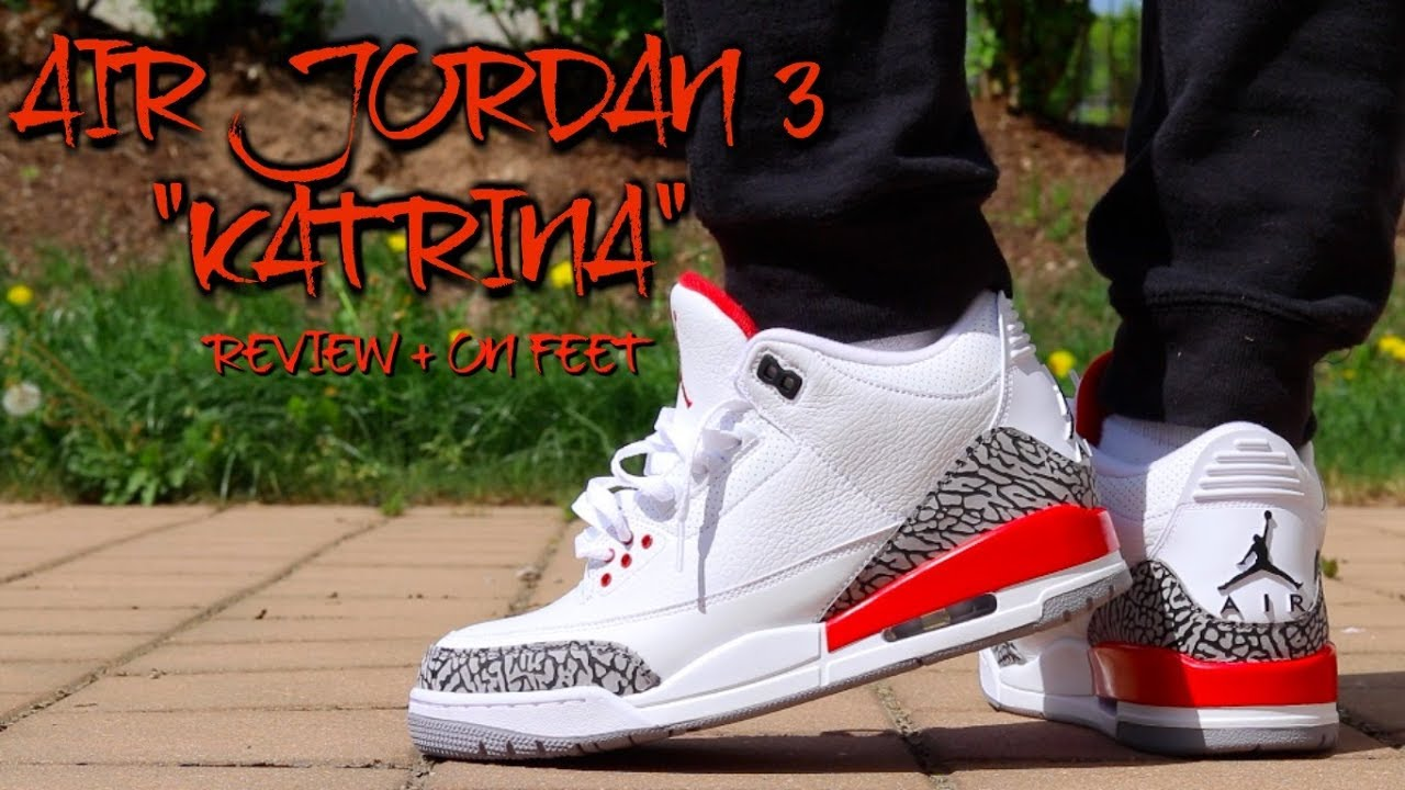 0efbf029b326a1 EARLY REVIEW  AIR JORDAN 3 RETRO KATRINA w  ON FEET!  MUST WATCH ...