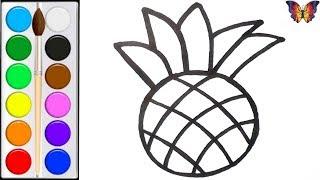 Как нарисовать АНАНАС /  мультик раскраска АНАНАС  для детей / Раскраски малышам