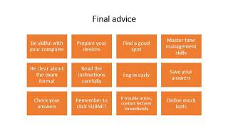 Final advice on taking online exams