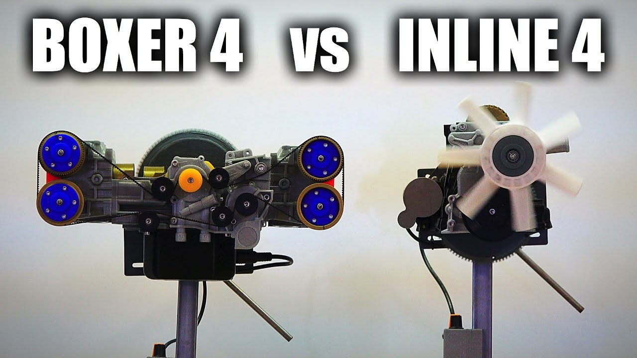 hight resolution of the differences between inline four boxer four engines