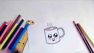 how to draw coffee cute | تعليم الرسم للاطفال | كيفية رسم كوب قهوه لطيف بالالوان
