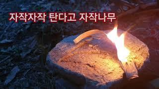 자작나무껍질 파이어스틱으로 불붙이기