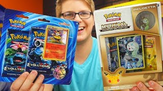 mythical collection box and xy evolutions 3 pack opening pokemon tcg