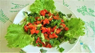 Огуречный салат с аджикой (жгучкой) за 1.5 минуты! Укрепляем иммунитет, улучшаем аппетит.