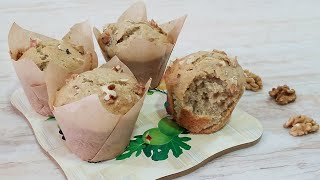NEW IMPROVED HEALTH BANANA WALNUT MUFFIN LIKE STOR BOUGHT RECIPE with liner BY KITCHEN WITH FATIMA