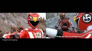 power rangers samurai clash of the red ranger red vs red split screen pr and sentai version