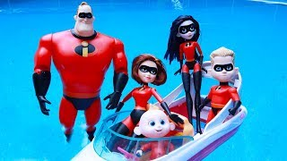 Incredibles Family Pretend Play and Driving Ice Cream Truck at Toy Hotel Swimming Pool | Episode 9