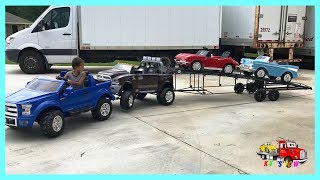 Powered Ride On Ford Towing The Broke Down Dodge Ram 3500 w/ Trailer Loading Corvette Belair