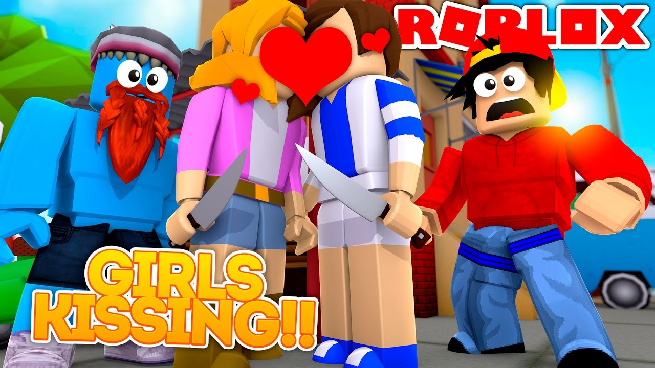 Roblox Adventure Girls Kissing In Murder Mystery Youtube