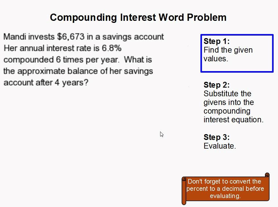 How to Solve a Compounding Interest Word Problem - YouTube