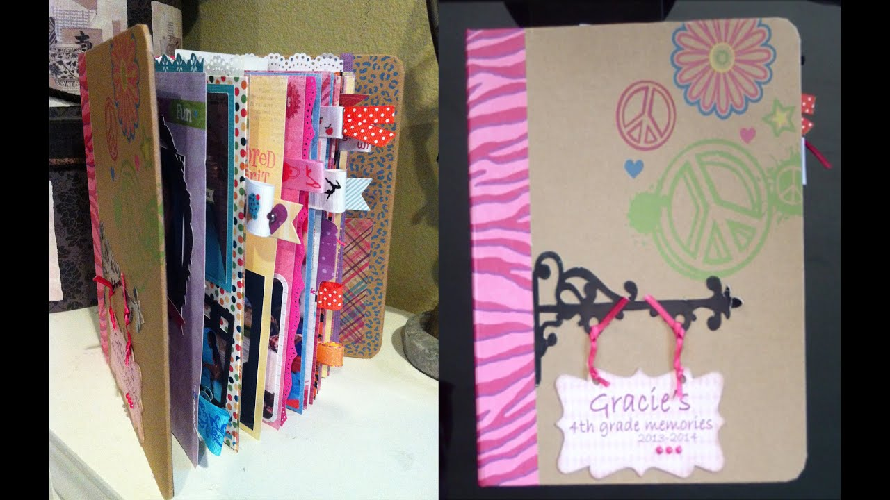 Scrapbook ideas recycled - How To Make A School Mini Scrapbook Album Gracie S 4th Grade Album Part 1