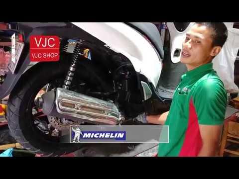 Thay lốp xe máy Michelin cho Honda SH kèm đánh giá của thợ xe