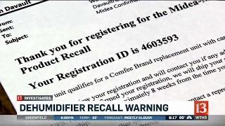 Dehumidifier recall