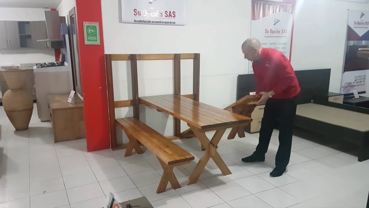 Comedor de pared plegable en madera pino canadiense youtube - Mesa de comedor plegable a la pared ...