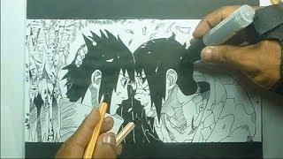 Naruto Shippuden: desenhando Irmãos Uchiha Sasuke e Itachi (Edo Tensei) - speed art
