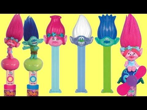 Dreamworks TROLLS PEZ Candy Dispensers, Light Sound Fan, Toy Surprise Poppy, Branch, Guy Diamond
