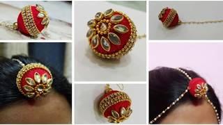 How to Make New Silk Thread  Bridal Maang Tikka/Bindiya Making at home |Rajesthani Rakhdi |
