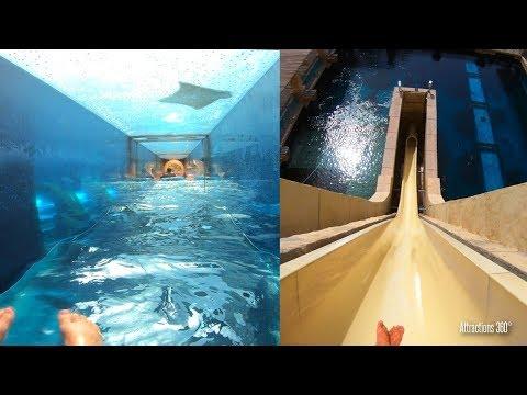 [4K] Shark Attack & Freefall Body Water Slides – Atlantis Water Park, Dubai
