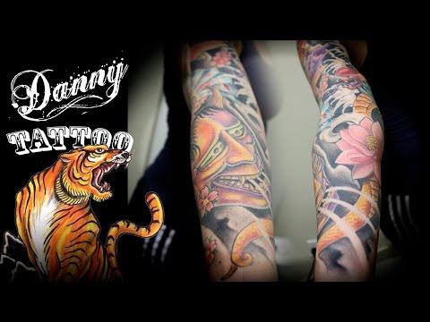 Oriental Fechamento de braço - parte 2 - Danny Tattoo (Oriental Full Sleeve Tattoo part 2)
