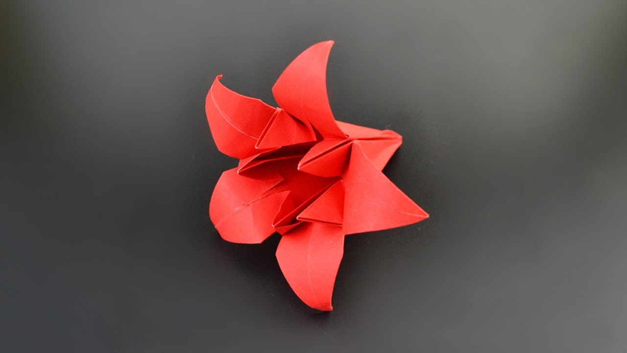 origami pentagonal lily flower iris instructions in