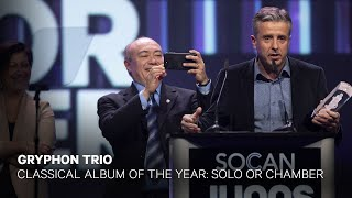 Gryphon Trio wins Classical Album of the Year: Solo or Chamber    Live at the 2019 JUNO Gala Dinner