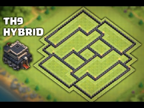 Clash of Clans - INSANE TH9 HYBRID BASE 2016 / FARMING BASE & REPLAYS 2016