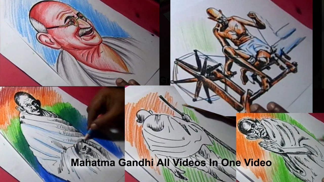 How To Draw Independence Day Poster Ideas All Mahatma Gandhi Drawings In One Video