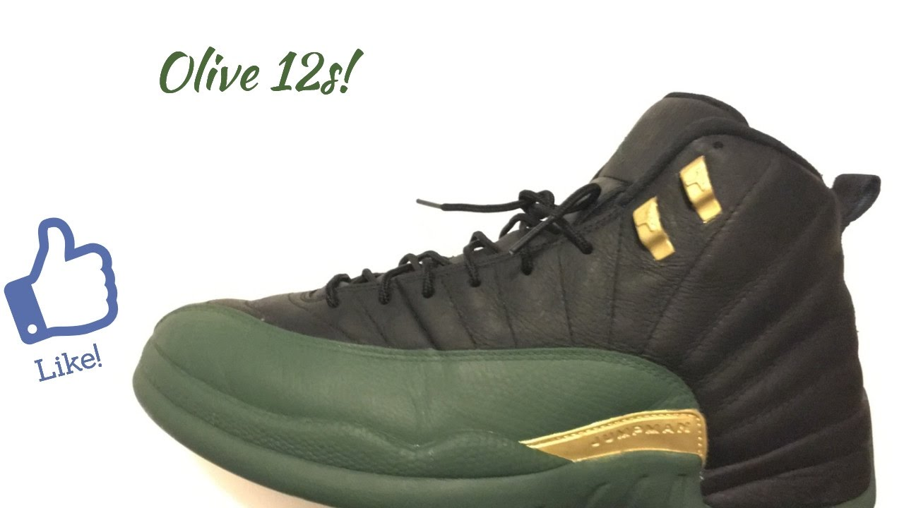 new products d6c25 33834 Jordan 12 olive custom