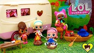 Muñecas LOL Confetti van de Campamento en el Camper de Juguete