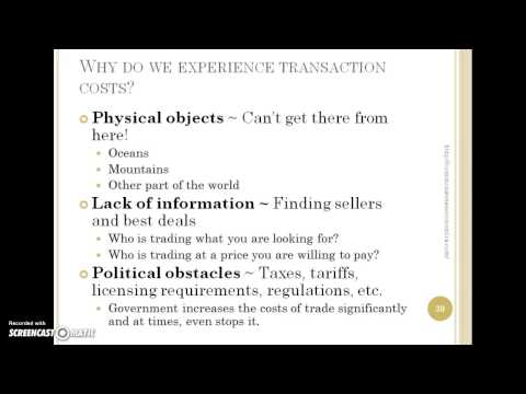 Part I Element 5: Transaction Costs are an Obstacle to Trade
