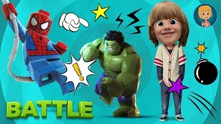 Hulk vs Spiderman and Green Goblin with Lego Mighty Micros Superheroes with Gerti