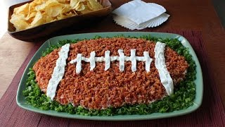 """Loaded Baked Potato"" Dip Football - Super Bowl Dip Recipe"