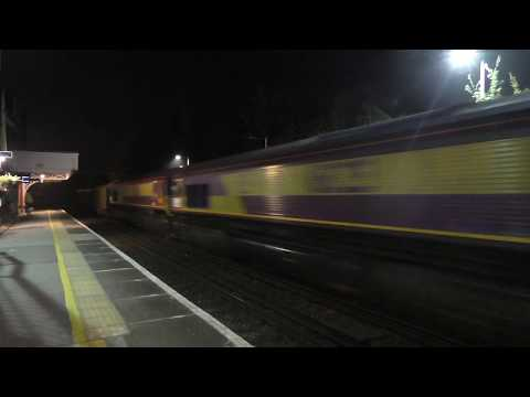 (HD) 66085 Drags Euro Cargo Rail 66211 + 66218 + 66225 + 66242 At Borough Green 3/9/14
