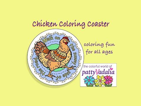 chicken Coloring Coasters