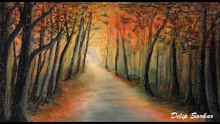 How to draw - Forest At Sunset - soft pastel & Oil pastel